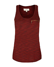 Burgundy Space Dye Zip Vest
